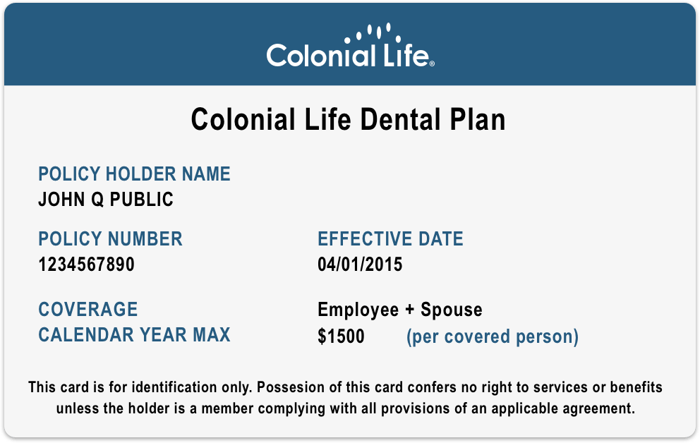 Colonial Life Fee Schedule ID Card